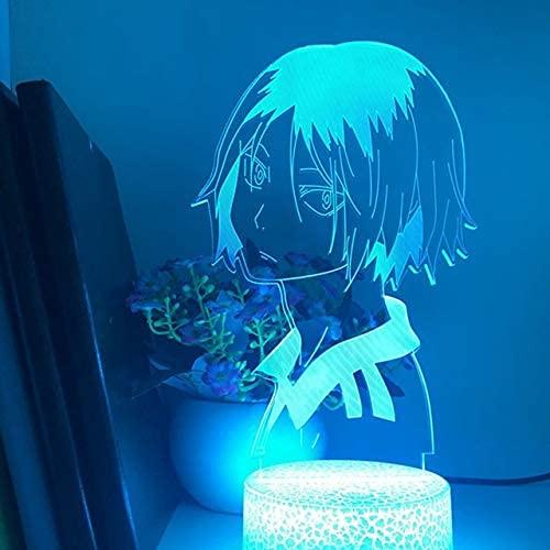 Haikyuu Kozume Tanaka Bokuto Hinata 3D LED ilusión luces nocturnas anime lámpara Haikyuu LED iluminación para decoración del dormitorio, intercambiable, base negra remoto