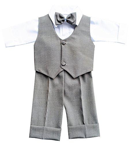 deine-Brautmode Festanzug Anzug Weste Hose Hemd Fliege Mütze Taufe Baby Set, Gerrit Grau 62