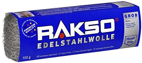 RAKSO Edelstahlwolle grob 150g Banderole rostfrei, beseitigt hartnäckige Ablagerungen auf Fliesen, Keramik-Böden im Nassbereich