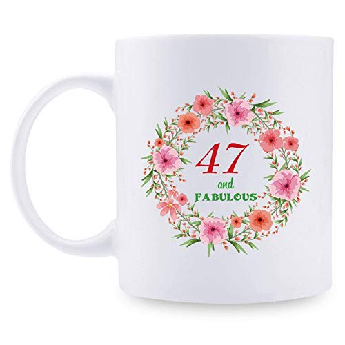 47th Birthday Gifts for Women - 47 and Fabulous with A Garland Birthday Mug - 47 Year Old Present Ideas for Mom, Wife, Daughter, Sisters, Friends, Colleague, Coworker - 11 oz Coffee Mug