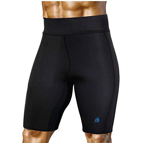 HuntDream Pantaloni da Sauna snellenti da Uomo Neoprene Caldo di Sudore per la Perdita di Peso Pantaloncini di Capris per Il Sudore del Corpo (Nero, X-Large)