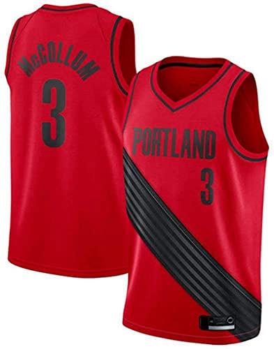 Lajx Maillot de baloncesto para hombre McCollum McCollum Sports de secado rápido de la competencia #3 crema # 3 rojo Jersey