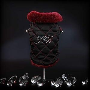 Trilly tutti Brilli Angelina Abrigo Acolchado con Interior de Pelo con aplicación Piedras Swarovski Negro, S–1Producto