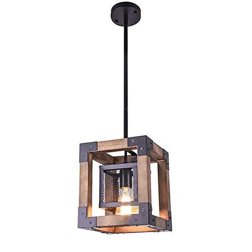 Xiao Fan ® industriële houten kluis, retro vintage plafondlamp hanglamp voor eetkamer, slaapkamer, bar, koffie, keuken restaurant plafondlamp 1 kop zwart H: 1 m