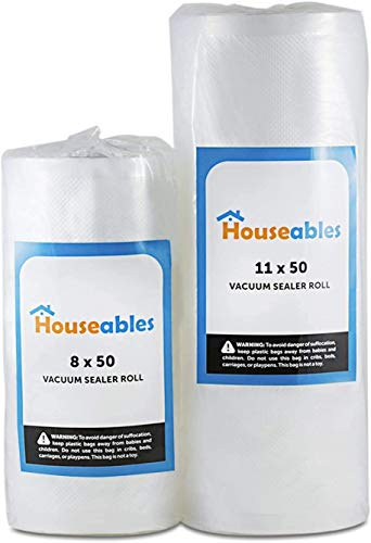 Houseables Vacuum Sealer Rolls, Sous Vide Bags, Large 11 Inch x 50 Ft, Commercial Grade Plastic, Food Vac Storage & Seal, Airtight Vacume Saver, Microwave & Freezer Safe, Store A Meal