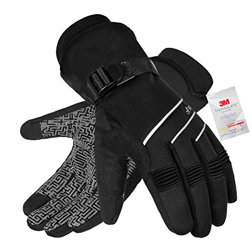 Waterproof & Windproof Winter Gloves for Men and Women,-30°F 3M Thinsulate Thermal Gloves Touch Screen Warm Gloves for Skiing,Cycling,Motorcycle,Running,Outdoor Sports-Black-M