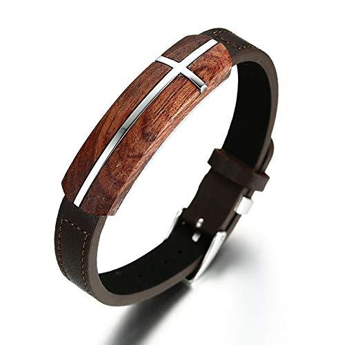 Einzigartige Herren Armbänder Duft Palisander Tag Echtes Leder Armband Größe Verstellbarer Edelstahl Kreuz Armband Schmuck