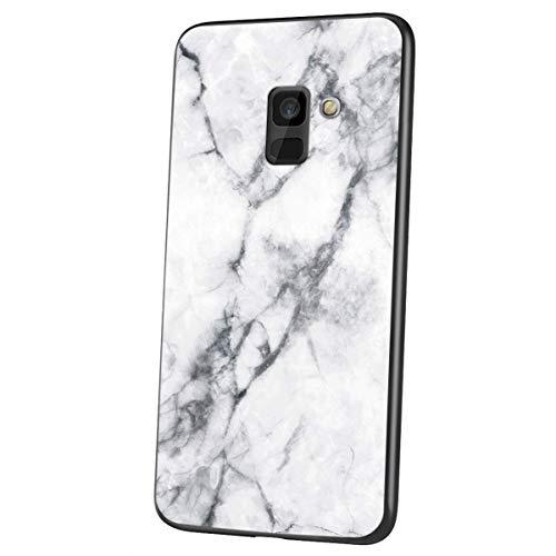 Herbests Kompatibel mit Samsung Galaxy A6 2018 Hülle Gehärtetes Glas Rückseite + Silikon Bumper Handyhülle Marmor Muster Kratzfeste Hardcase Schutzhülle Stoßfest Hybrid Hülle,Weiß