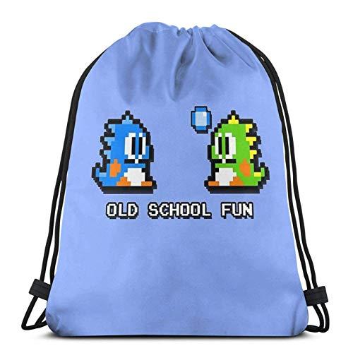 JS-BA Old School Fun - Bubble Bobble - Bub and Bob - Arcade Fun + Retro Love Sport Sackpack Kordelzug Rucksack Sportbeutel Sack