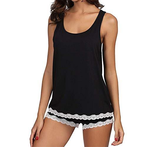 YDZY, Conjunto de Pijama Sexi para Mujer, Conjunto de Ropa de Dormir sin Mangas de algodón a Rayas, Ropa de Dormir de Encaje, camisón para Mujer, Pijama para el hogar
