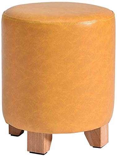 Woonkamer stoel Kaptafel Kruk Footstool Ottomaanse Poef Padded Seat Oval Kleine Houten PU Leather (Bruin/geel) (kleur: geel) (Color : Yellow)