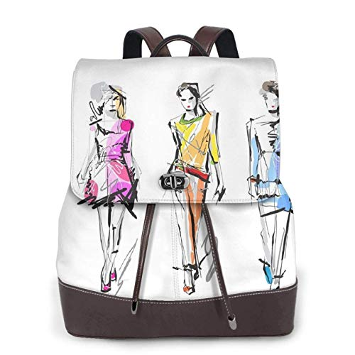 Women's Casual Leather Backpack Durable School Backpack, Colorful Fashion Models Girls Printed Bookbag Fashion Travel Shoulder Bag