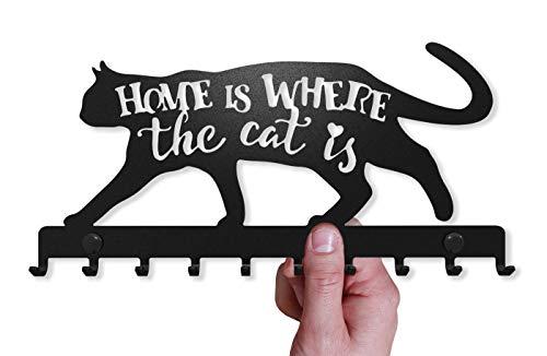 Porte-Clés Mural Sweet Home Chat Décoratif (Support à 9 Crochets), Patère en Métal pour Porte...