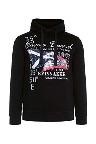 Camp David Herren Kapuzensweater mit Sailing Print, Black, M