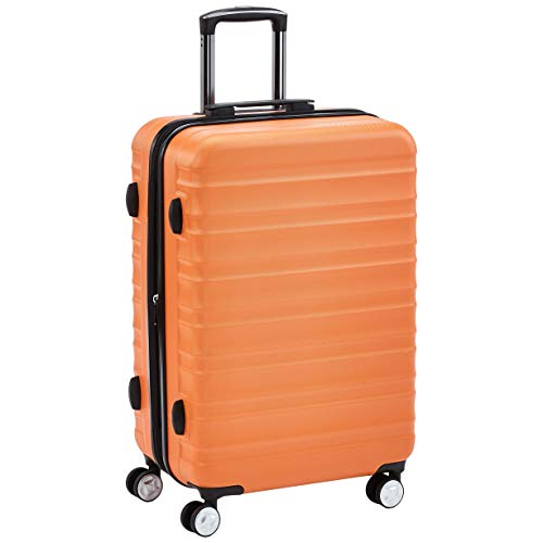 AmazonBasics Premium Hardside Spinner Suitcase Luggage with Wheels - 24-Inch, Orange