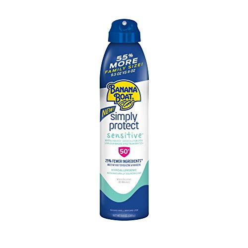 Banana Boat Simply Protect Sensitive Reef Friendly Sunscreen Spray, Broad Spectrum SPF 50, 25% Fewer Ingredients, 9.5 Ounces
