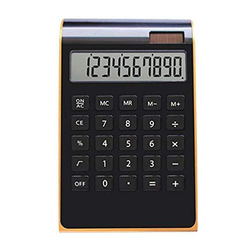NUOBESTY Solarbetriebene Taschenrechner Tragbar Cool Ultradünne Goldrand Elektronischen Taschenrechner ohne Batterie für Die Schule Office Home (Schwarz)