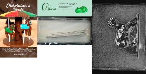 Cybrtrayd Cocker Spaniel - Molde de chocolate con paquetes de chocolate + 25 bolsas de celofán + 25 lazos plateados