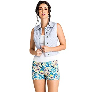 Women's Stone Wash Hawaiian Print Raw Edge Jean Short
