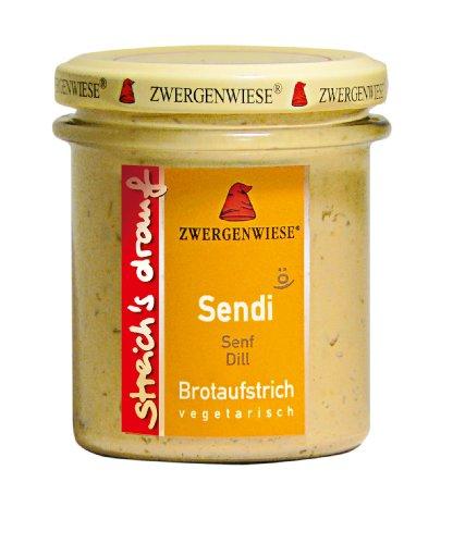 Zwergenwiese Sendi (Senf-Dill) 160g Bio Brotaufstrich Vegetarisch, 6er Pack (6 x 160 g)