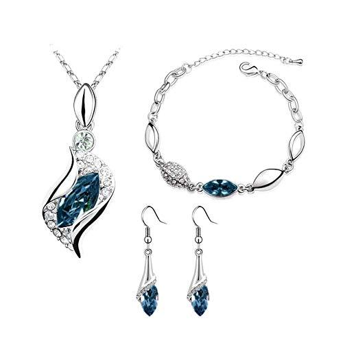 FafSgwq Rhinestone De Las Mujeres Geométrico Colgante Collar Pulsera Pendientes De Gancho Joyas Conjunto De Collar De Gota De Agua De Cristal Azul eléctrico