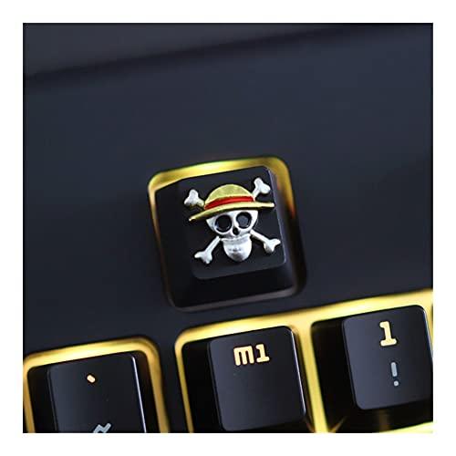 FATEGGS Conjunto de Llaves KEYCAP 1 PCS Anime One Pieza Cable DE Aluminio DE ZINCA Cable Teclado Mecánico KeyCaps para Teclado Mecánico R4 Altura KeyCaps Lindos (Color : The Straw Hat Pirate)
