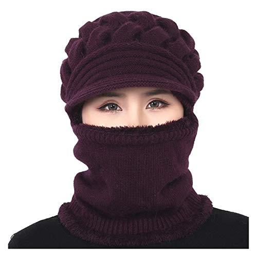 Gzjdtkj Wintermuts Koraal Fleece Wintermuts Mutsen Dames Hoed Sjaal Warm Ademend Gebreide Hoed Voor Vrouwen Dubbele Lagen Bescherming Caps (Kleur: 1)