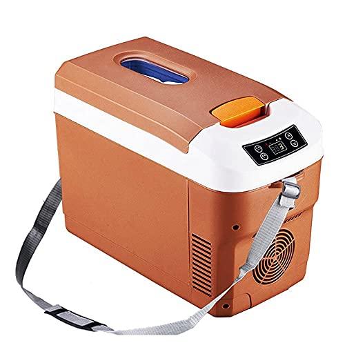 FHKBK Refrigerador de Coche de 12 l, congelador, camión, 24 V / 12 V / 220 V, Mini refrigerador eléctrico para Viajes de conducción de Larga Distancia (Color: marrón)