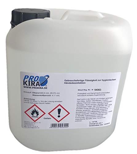 PROKIRA® Hände Desinfektions Mittel Desinfektionsmittel Händedesinfektion 85,5% Ethanol WHO FIP EN1500 5Liter