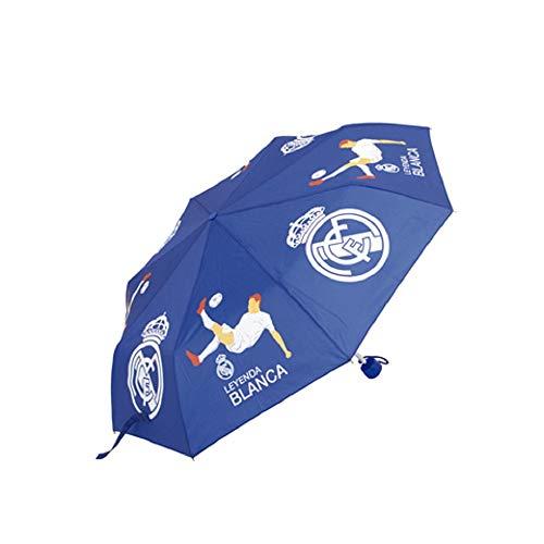Paraguas Real Madrid Plegable - Paraguas Oficial Real Madrid Plegable para Adulto (Azul Marino)