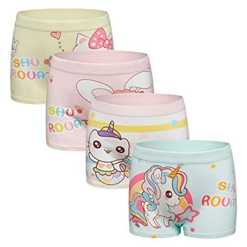 Ivenus 4er Pack Mädchen Unterhosen Gemischte Kinder Unterwäsche Baumwolle Unterwäsche Boxershorts 2-11 Jahre