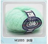 LINGE 25G / Ball Feelings Thin Mohair Wool Wool Plush Wool Crochet Hand Knitting, 05 Verde Agua