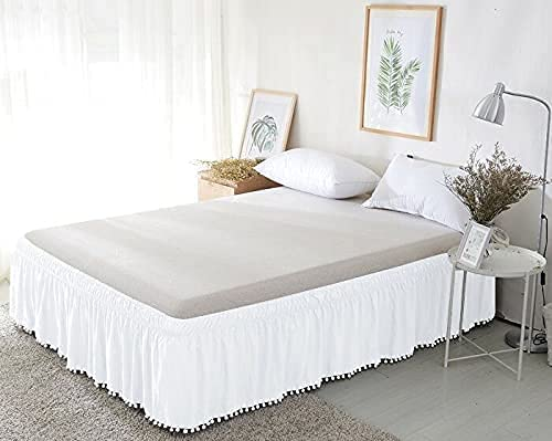 NG Linen excellence Pom Now on sale Wrap Around BedSkirt T 800 Cotton Egyptian 100%