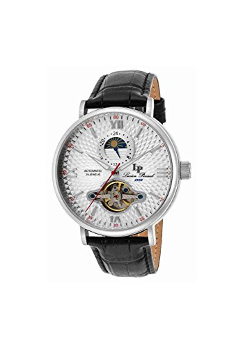 Lucien Piccard Men's 'Babylon' Automatic Stainless Steel and Black Leather Casual Watch (Model: LP-15040-02S)
