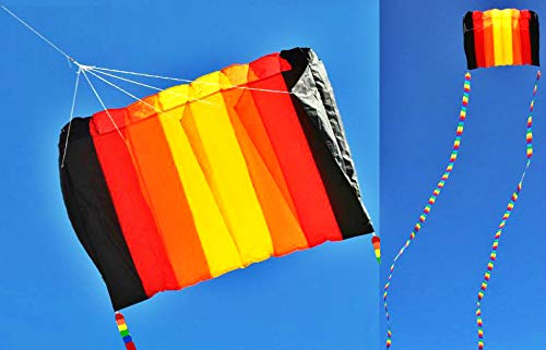 2 IN 1 COMBO - Eye Catching Kite Tails + 8 Hole Single Line Control Parachute Parafoil Foil Kite Outdoor Beach Garden Playground Fun