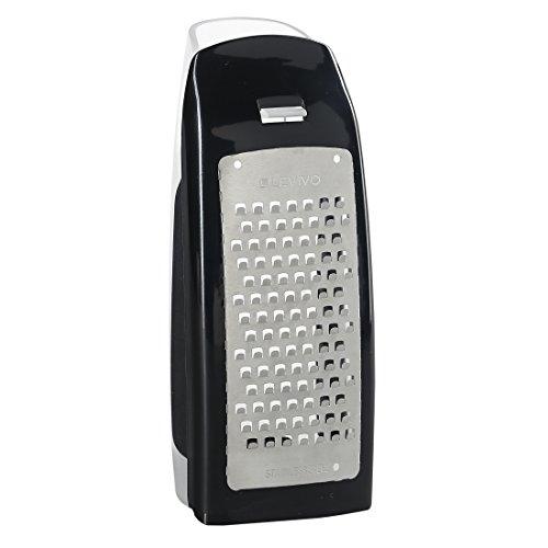 Levivo Rallador de queso con depósito, acero inoxidable, rallador, rallador para queso, accesorio de cocina, rallador de queso con recipiente colector, negro, 7,5 x 5,5 x 16,5 cm