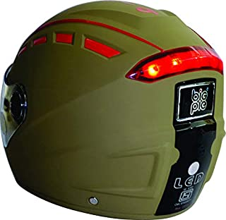 BIGPIE LED Full Face Helmet with Visor and USB Charging Cable (Khaki, L)