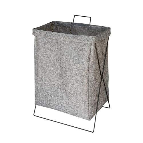 Purzest ランドリー バスケット ランドリー 洗濯かご ランドリーボックス 収納バスケット おしゃれ 収納 ボックス 取っ手付き 折り畳み 仕切り 収納袋防水 コーティングラミーコットン(グレー)