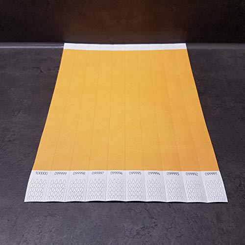 powerpreis24 22 versch Farben 100-500-1000 Stück Auswahl Einlassbänder Kontrollbänder Eintrittsbänder Partybänder Securebänder aus Tyvek (100 Stück, orange)