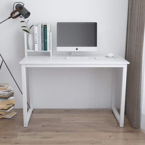 "QIHANGUS Desk Wooden Home Office Desk I Shape for Bedroom Living Room Gaming Desk Laptop Computer Desk Student Desk 41"" Wide Modern Simple Study Desk Reading Writing Eating Working (white-41)"