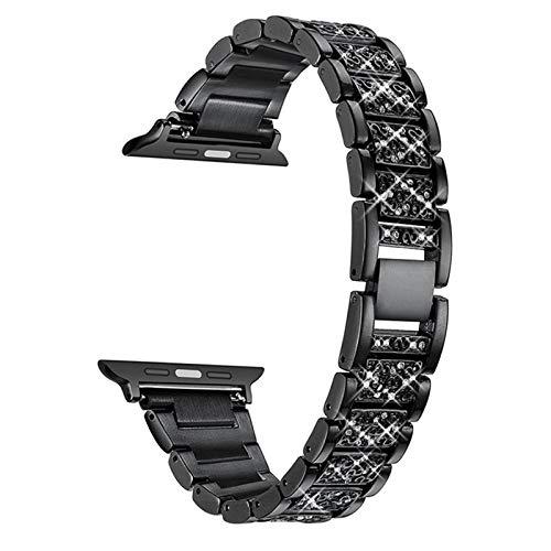 KAAGGF Diamond Case + Band para Apple Watch 6 5 4 3 2 1 Banda 44mm 40mm 42mm 38mm Steel de Acero Inoxidable Lady Mujeres Pulsera para el cinturón iWatch (Band Color : D, Band Width : 38mm)