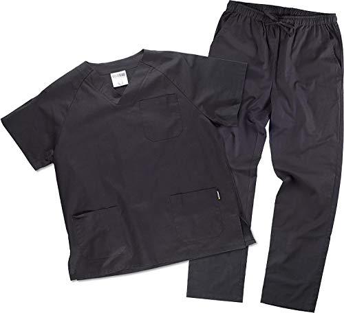 Work Team Uniforme Sanitario, con elástico y cordón en la Cintura, Casaca y Pantalon Unisex Negro XXL