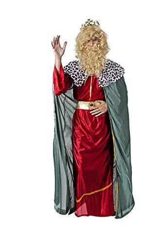 Costumizate! Disfraz de Rey Rojo con Tunica Verde Mago para Hombre Adulto Talla Unica Especial de Navidad