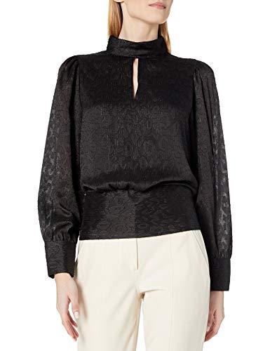 KARL LAGERFELD Paris Damen Keyhole Blouse Hemd, Black Deep, Mittel