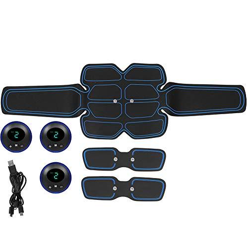 Estimulador de músculos abdominales, dispositivo inteligente de fitness, cinturón de cintura recargable con 2 parches de brazo para abdomen, brazo y pierna