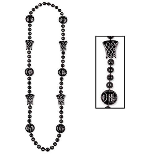 Club 12Stück Schwarz Basketball Perlen Halskette Partyzubehör 91,4cm