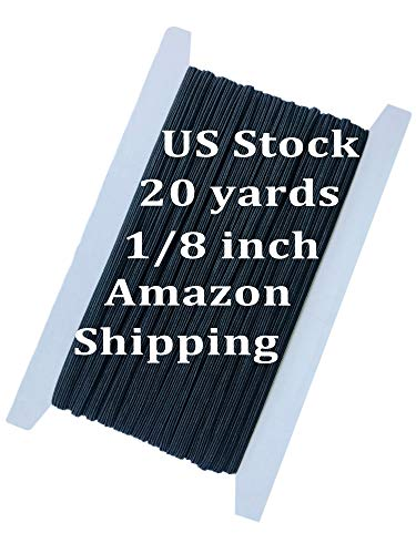 Elastic Bands for Sewing 1/8 in, 20 Yards Elastic Cord US Stock,Black Braided Elastic String Cord, Sewing Stretch Knit Elastic Spool for Sewing Crafts (Black, 20 yards-3mm)