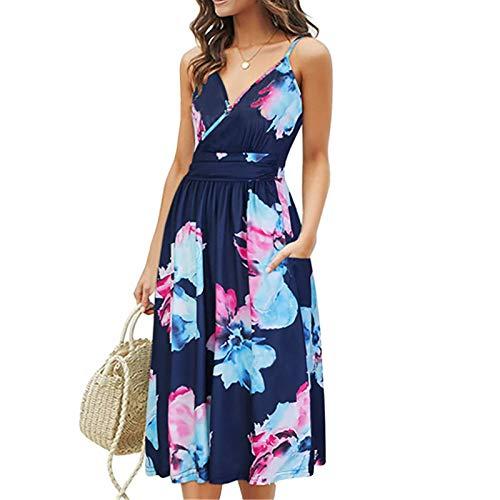 Qigxihkh Damen Herbst Winter Langarm Rock Lässig Mode Kleider Bequem Frauen Women's New Summer Print Design Suspender Sleeveless Medium Length Dress(Rosa, L)