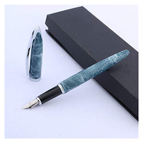 Plumas estilográficas Pieza Plateada de mármol Azul Recorte Pluma (Color : Blue Marble)