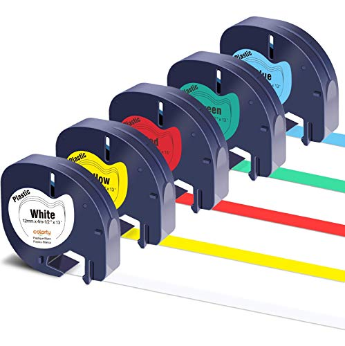 Colorty Compatible Label Tape Replacement for DYMO LetraTag Refills Plastic Tape 91331 91332 91333 91334 91335 for Dymo Letra Tag Plus LT-100H LT-100T QX50 Label Maker 12mm x 4m 1/2 Inch x 13 Ft